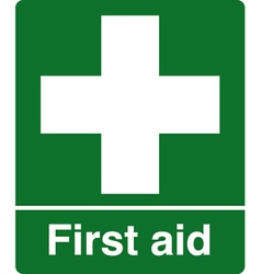First aid station safety sign vector