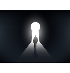 Silhouette of a man walking in the light vector