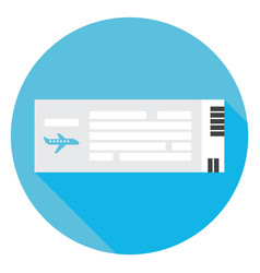 Flat travel airplane ticket circle icon with long vector