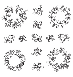 Set of hand-draw floral wreaths vector