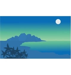 Silhouette of beach at night vector