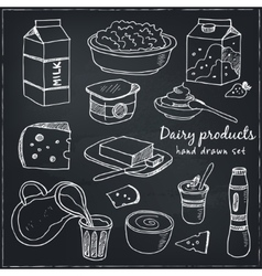 Dairy products hand drawn decorative icons set vector