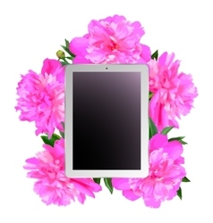 Tablet and pink peonies vector