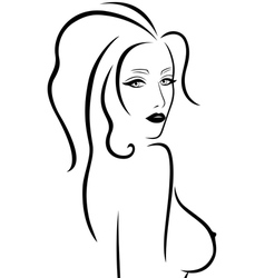 Abstract young woman with a naked breast vector image vector image