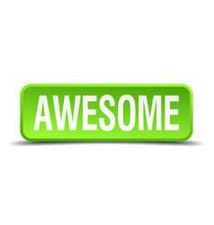 Awesome green 3d realistic square isolated button vector