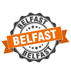 Belfast round ribbon seal vector