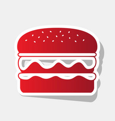 Burger simple sign new year reddish icon vector
