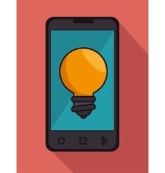 Cellphone black bulb idea icon graphic vector