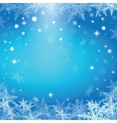 Christmas snowflakes on blue background vector image vector image