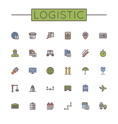 Colored Logistic Line Icons vector image vector image