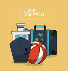 Colorful poster of enjoy vacation with cruise ship vector