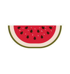 Colorful silhouette with watermelon fruit slice vector
