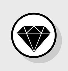 Diamond sign flat black icon vector