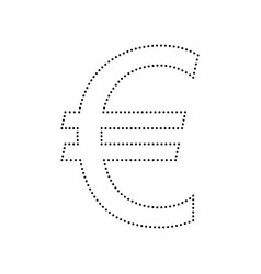 Euro sign black dotted icon on white vector