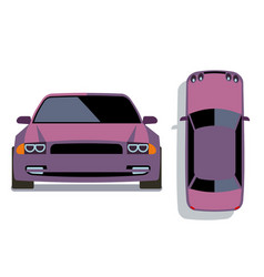 flat-style cars in different views lilac vector image