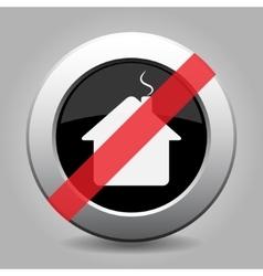 Gray chrome button - no home vector