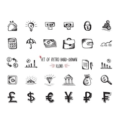 Hand-drawn sketch web icon set - economy money vector image