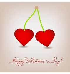 Happy Valentines Day card with cherry heart vector image
