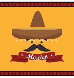 Icon hat mustache mexican culture design vector