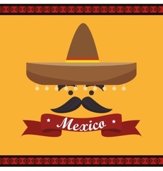 icon hat mustache mexican culture design vector image