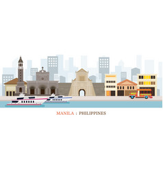 Manila philippines landmarks skyline vector