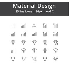 Material design signal line icons vector