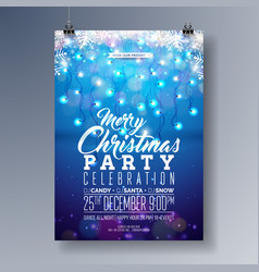 merry christmas party flyer design with vector image vector image