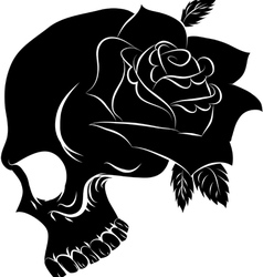 Pirate skull and one rose vector image vector image