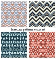 pixels seamless patterns set vector image vector image