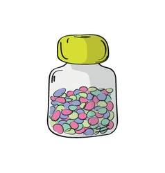 Plastic bottle with pills vector