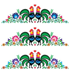 Polish floral folk long embroidery pattern rooster vector image