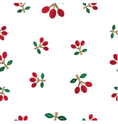 Seamless pattern with red coffee bean vector