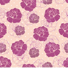 Seamless pink floral pattern with violet roses vector image