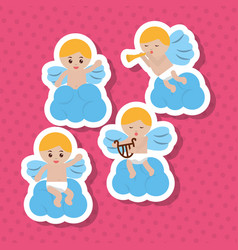 set of blond cupid in clouds harp trumpet music vector image