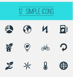 Set of simple ecology icons elements recycling eco vector