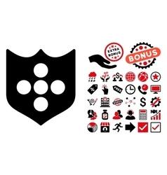 Shield Flat Icon with Bonus vector image