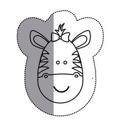 silhouette face zebra ribbon bow head icon vector image