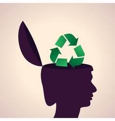 thinking concept-Human head with recycle symbol vector image vector image