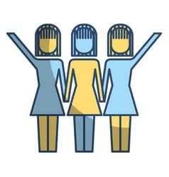 Three women holding hands teamwork successful vector