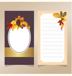 watercolor autumn leaves invitation card template vector image vector image