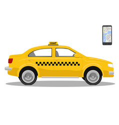 Yellow taxi car and smarthone app for taxi vector