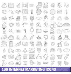 100 internet marketing icons set outline style vector