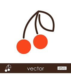 Cherry outline icon fruit vector