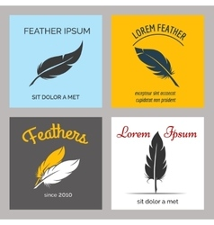 Feather logo set vector image