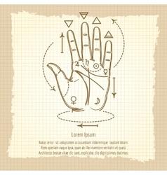 Palmistry sign on vintage background vector image