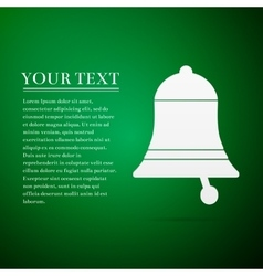 Bell flat icon on green background vector image