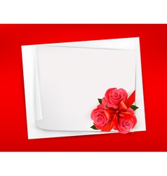 Holiday background with sheet of paper and red vector