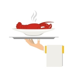 Silhouette colorful dish with hot lobster in tray vector