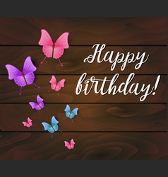 happy birthday background wooden planks with vector image