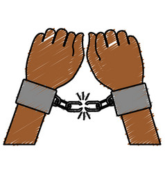 Hand human with handcuff vector